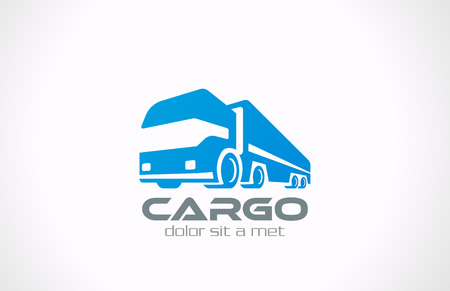 화물 트럭 벡터 로고 디자인 배달 서비스 개념 아이콘 운송 사업 일러스트