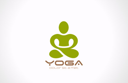 ヨガのポーズのベクトルのロゴ デザイン、美容、スパ、リラックス、マッサージ、瞑想の概念
