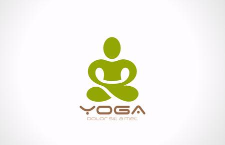 beauty wellness: Yoga pose vector logo ontwerp Beauty, Spa, Relax, Massage, Meditatie begrip Stock Illustratie