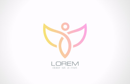 Woman with wings vector logo design Flying character abstract  Cosmetics, spa, health, fashion creative concept icon  Vector