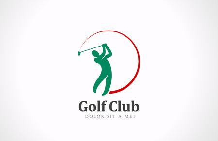 swings: Golfista jugando icono vector insignia de la plantilla de dise�o concepto torneo de clubes de golf Vectores