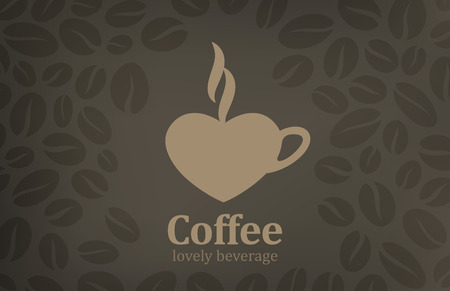 Coffee cup heart shape vector logo design template  Cafe emblem icon Love coffee concept  Vector