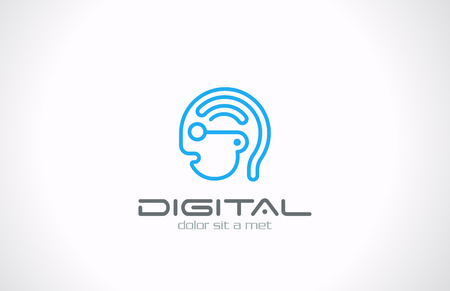 Digital Head Line art vector logo design template  Internet generation concept Geek symbol  Digital Brain idea  Robot Android icon