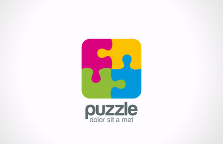 square: Puzzle Square vector logo design template  Funny Rebus entertainment concept Colorful logic icon