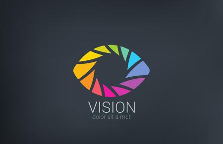 ojos verdes: Obturaci�n de los ojos de vectores plantilla de dise�o del logotipo de fotos concepto grabaci�n de v�deo fotograf�a creativa icono