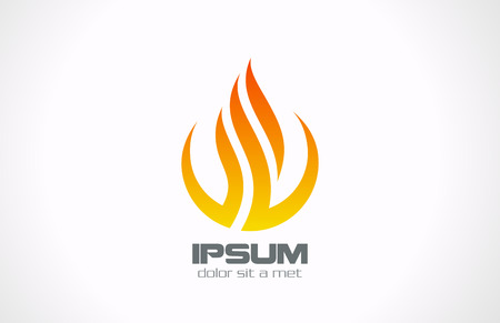 Abstract corporate vector logo design template  Corporate symbol icon Flame in Circle concept  Ilustração