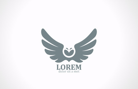 Bird wings abstract vector logo design template  Flying Owl icon Luxury vintage eagle falcon emblem  Vector