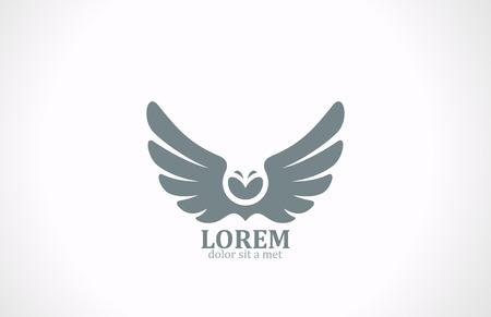 Las alas del pájaro abstracto del vector plantilla de diseño de logotipo Owl Flying águila icono lujo de la vendimia halcón emblema