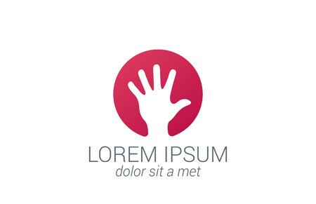 Helping hand silhouette vector logo design template.   Five fingers hand creative concept icon. Çizim