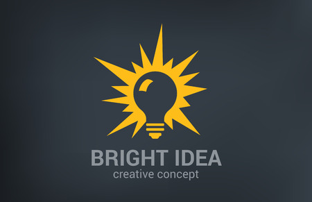 Creative bright new idea vector logo design template. Light bulb shine.  Think, research, solution, imagine concept icon.
