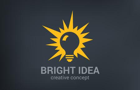 Nueva idea vector plantilla de diseño de logotipo brillante creativo. Brillo de la bombilla. Piense, la investigación, la solución, imaginar concepto icono.