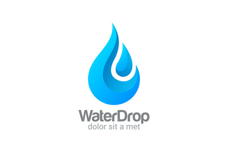water logo: Waterdrop creative vector logo design template. Clear Water drop concept. Mineral Aqua symbol. Fresh droplet icon. Illustration