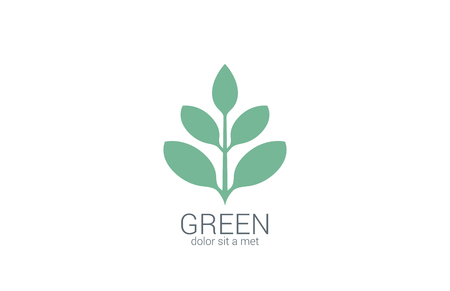 Green Plant abstract vector logo design template. Eco organic green concept. Illustration