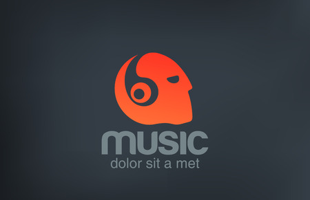Head with Headphones listening Music vector logo design template.  Negative space creative concept icon. Vector