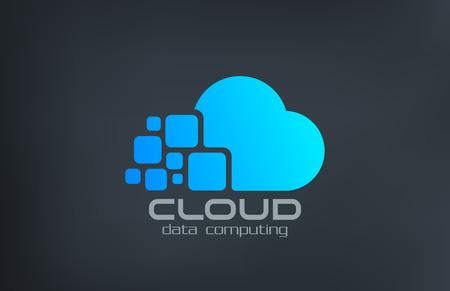 클라우드 컴퓨팅 기술 벡터 로고 디자인 템플릿입니다. 데이터 전송 창조적 인 개념 아이콘. 일러스트