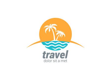 여행사 벡터 로고 디자인 템플릿입니다. 해변, 바다, 수평선, 손바닥, 일 - 크리 에이 티브 개념입니다.