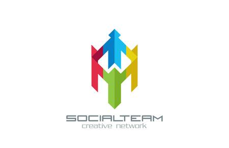 사회 단체 벡터 로고 디자인 템플릿입니다. 인터넷 커뮤니티 그룹 크리 에이 티브 개념 아이콘입니다. 사람들이 들고 미디어 네트워크를 손에. 일러스트