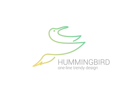 Hummingbird flying line art vector logo design template Creative concept icon  Vector