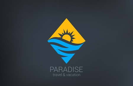 sunny beach: Travel vector logo design template  Rhombus shape creative concept Ocean Sea Waves, Sun shine Tourism icon
