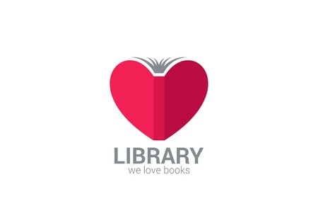 Book Store vector logo design template  Creative library concept Learn, study idea icon  Love Books symbol