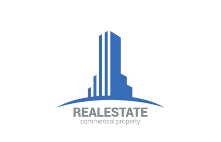 property: Commercial Property Real Estate vector logo design template Realty Concept icon  Skyscraper silhouette on Horizon  Illustration