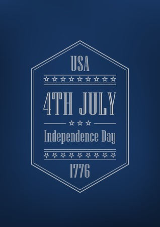 4th of July Independence Day of America vector Poster retro design template.  Vintage Label one color for any background. Vector