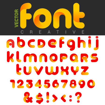 Font design rounded funny cartoon.  Vector