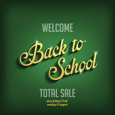 Back to School vector typography design poster template.  Vintage Retro style Education, Learning theme sale.