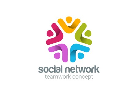 Social Team Network Logo design vector. Teamwork logotype.  Partnership, Community, Leadership concept. People holding hands icon. Çizim