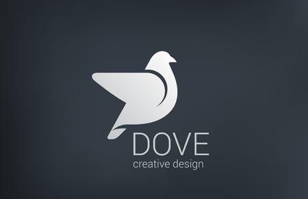 Logo Colomba volare vettore modello struttura. Uccello concetto di logo astratto. Archivio Fotografico - 31050191