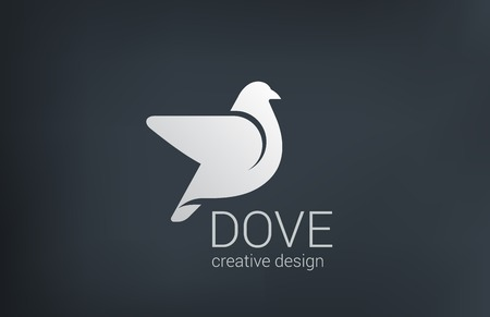 Logo Dove flying vector design template.  Bird abstract logotype concept. Vector
