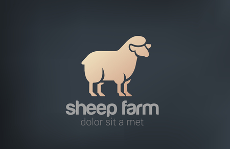 ewe: Sheep Logo vector design template silhouette icon.  Farm Logotype concept idea. Illustration
