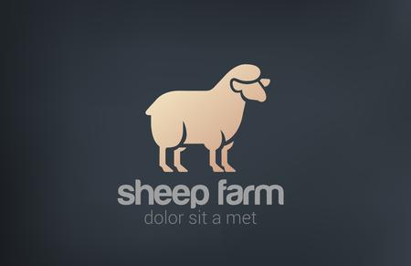 Sheep Logo vector design template silhouette icon. Farm Logotype concept idea. Illustration