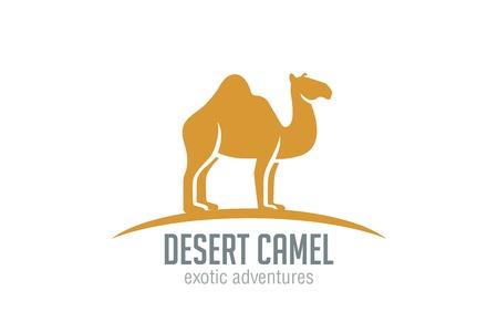 logo voyage: Camel Logo vecteur modèle de conception silhouette. Désert Voyage logotype concept. Illustration