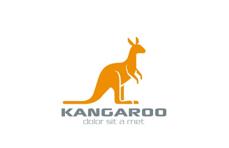 Kangaroo Logo vector design silhouette template.  Logotype for bags, sport etc. Vector