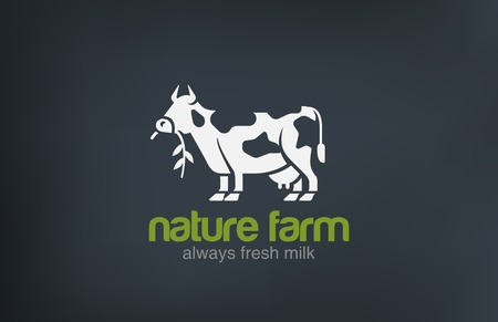Koe Logo silhouet vector design template. Fresh Natural Melk Farm Logotype concept pictogram.