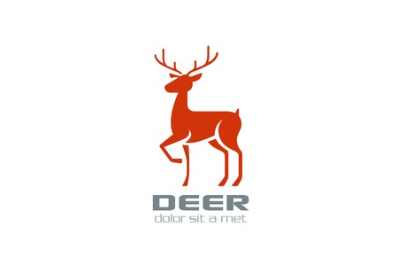 Deer Logo silhouette vector design template. Reindeer icon.  Wildlife animal logotype. Vector