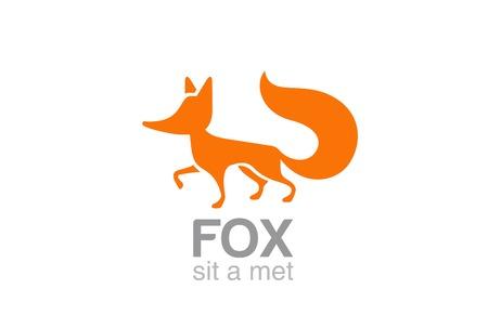 폭스 로고 실루엣 벡터 디자인 서식 파일 아이콘입니다. 야생 동물의 로고. 일러스트
