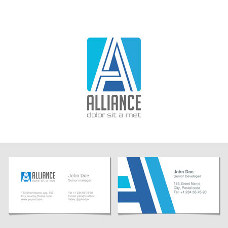 visit card: Corporate Logo A Letter company vector design template.  Logotype with identity business visit card.