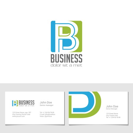 Corporate Logo B Letter company vector design template.  Logotype with identity business visit card. Иллюстрация