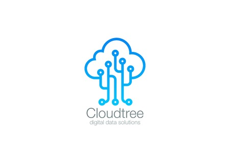 Tree Cloud vector design template.