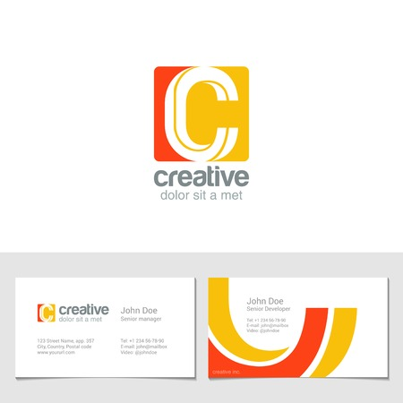 business cards: Corporate C Letter company vector design template.