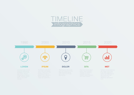 Timeline Infographics vector design template for business financial reports, website, infographic statistics. Editable. Çizim