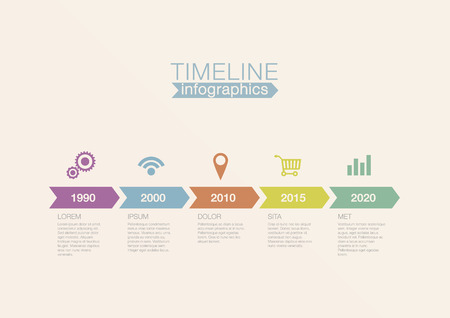 Timeline Infographics vector design template for financial reports, website, blog, infographic statistics. Editable. Vector