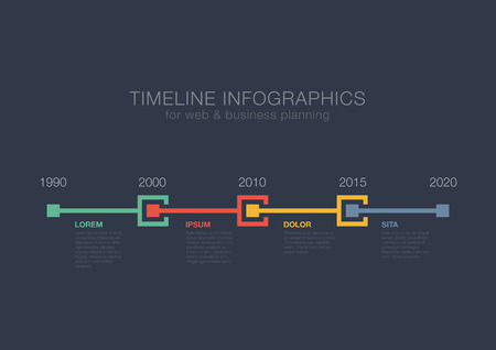Timeline Infographics squares vector design template for financial reports, media, website, blog, infographic statistics. Editable.