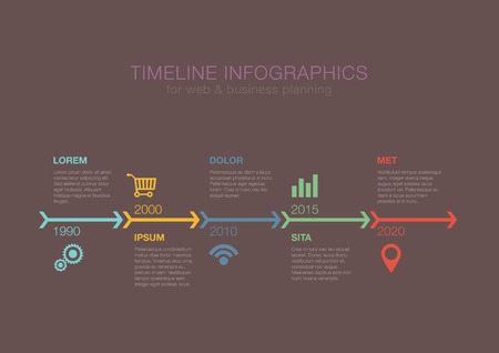 Business Timeline Infographics arrows vector design template for financial reports, website, infographic statistics. Editable. Vettoriali