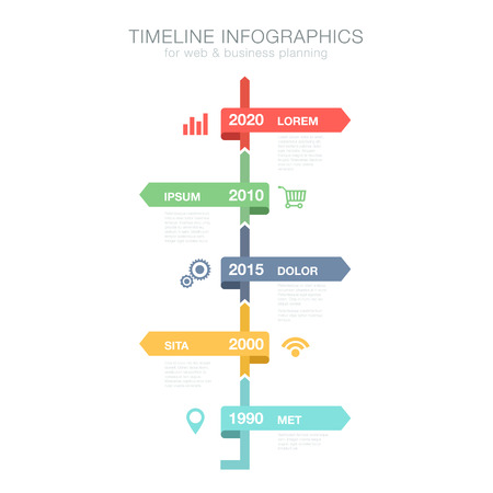 Timeline Infographics vertical vector design template for business financial reports, website, infographic statistics with icons. Editable. Stock Illustratie