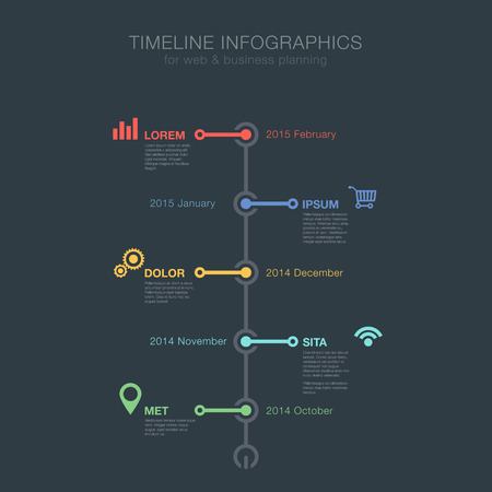 사업 재정 보고서, 웹 사이트, 인포 그래픽 통계에 대한 타임 라인 인포 그래픽 트리보기 수직 벡터 디자인 서식 파일. 편집 할 수 있습니다. 일러스트