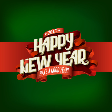 muerdago navideÃ?  Ã? Ã?±o: Plantilla Feliz diseño del cartel del vector del Año Nuevo del vintage Tipografía. El deletreado concepto creativo de tarjetas de felicitación estilo retro.