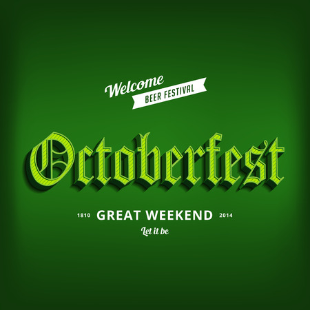 Octoberfest festival typography vintage retro Gothic style vector design poster template.  Creative 3d typo font October-fest typographic menu banner long shadow Vector
